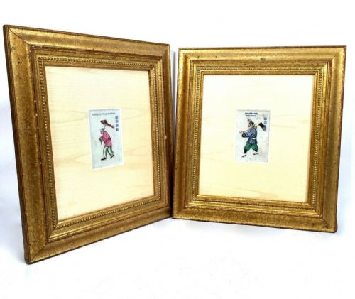 Antique Chinese Rice / Pith Paper Watercolour Painting Pair in Gold Frames